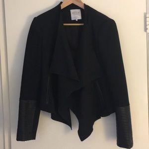 ZARA Black Blazer with Faux Leather Sleeves